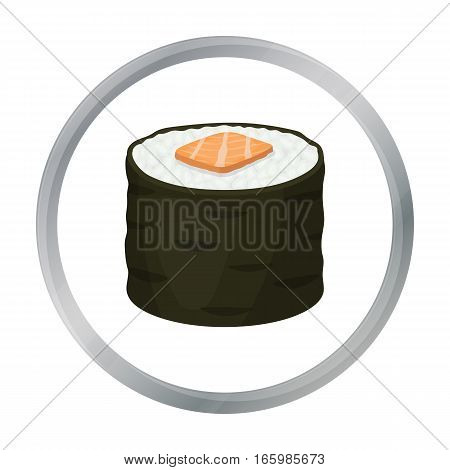 Norimaki icon in cartoon style isolated on white background. Sushi symbol stock vector illustration. - stock vector