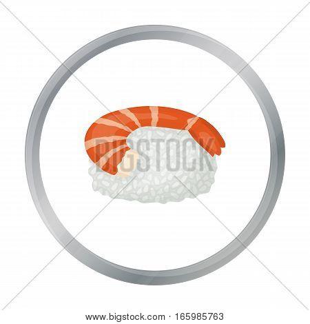 Ebi Nigiri icon in cartoon style isolated on white background. Sushi symbol vector illustration.