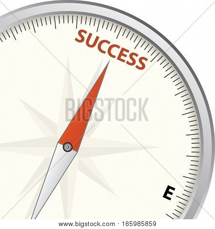 compass showing direction to sucess - vector illustration