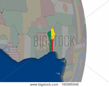 Benin With Its Flag
