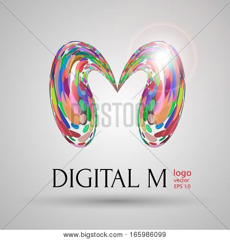 Vector digital modern bubble style M letter vector illustration on light grey background. Logo brand name design element web design poster banner print advertisement. liquid mixed colored pink shade