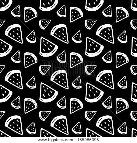 Doodle watermelon pattern with hand drawn ink fruits. Cute vector black and white watermelon pattern. Seamless monochrome cartoon watermelon pattern for fabric, wallpapers, wrapping paper and cards.