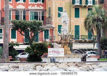 SANTA MAGHERITA LIGURE, ITALY - DECEMBER 2016: Sculpture of Christopher Columbus at coast of Santa Magherita town, Italy