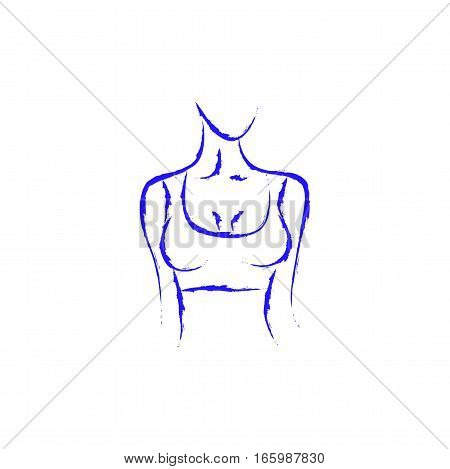 Vector image of a woman's body. Beautiful shape. Turn right. Female bust. . Drawing paint eps jpg