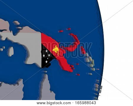 Papua New Guinea With Its Flag