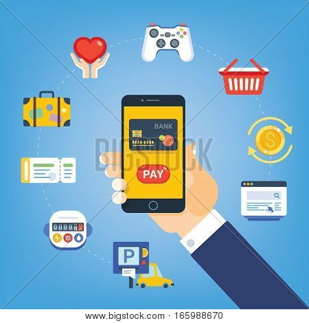 Mobile Payment Pay for services Marketing Solution. Hand with phone button pay. Icons meter ticket card parking site suitcase coin joystick basket. Vector illustrationflat style.