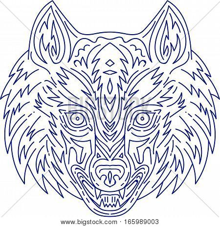 Mono line style illustration of a head of a grey wolf viewed from the front set on isolated white background.