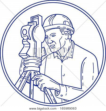 Mono line style illustration of a surveyor geodetic engineer with theodolite instrument surveying viewed from side set inside circle on isolated background.