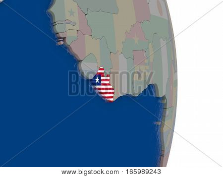 Liberia With Its Flag