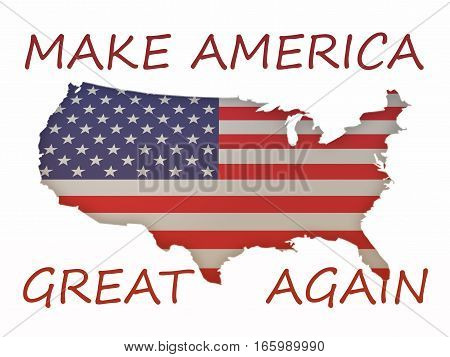 3d Stars and Stripes Flag US Map With Political Slogan Make America Great Again 3d illustration