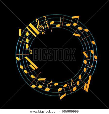 3D Illustration Of Musical Notes