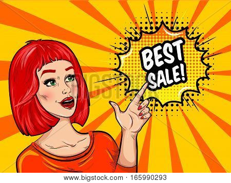 Pop art sale background with pretty surprised woman in orange blouse and speech bubble with inscription vector illustration