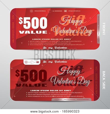 Vector Happy Valentine's Day gift voucher on the red gradient background with stars convex pattern.