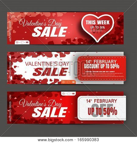 Vector Valentine's Day sale banners on the red and white background with hearts stripes and abstract pattern.