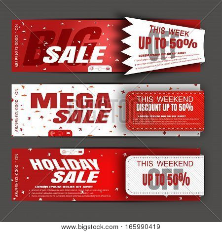 Vector holiday sale banners on the red and white background with stripes and abstract pattern.