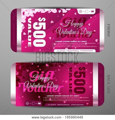 Vector Happy Valentine's Day gift voucher on the dark pink gradient background with stars hearts convex pattern.