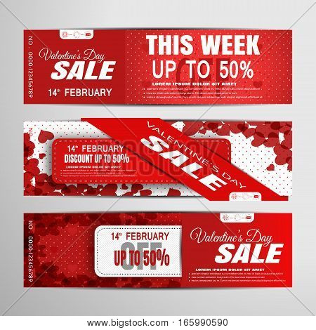 Vector Valentine's Day sale banners on the red and white background with hearts stripes shadows and abstract pattern.