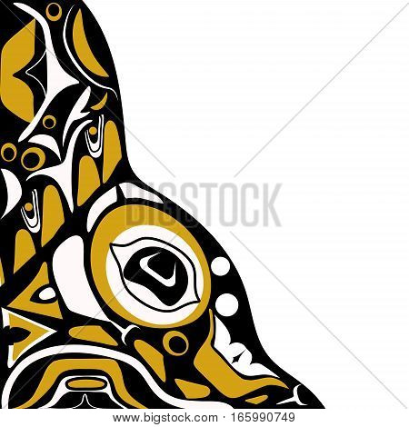 Vector illustration abstract yellow background native north american on white