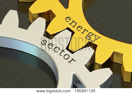 Energy Sector concept on the gearwheels 3D rendering