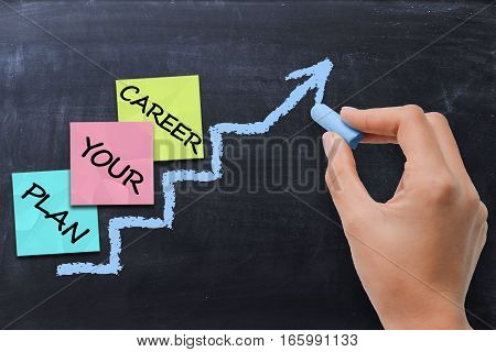 Career planning concept with colored post it index on ladder chalk drawn on blackboard