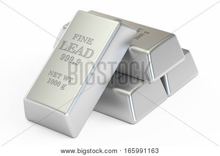 lead ingots 3D rendering isolated on white background