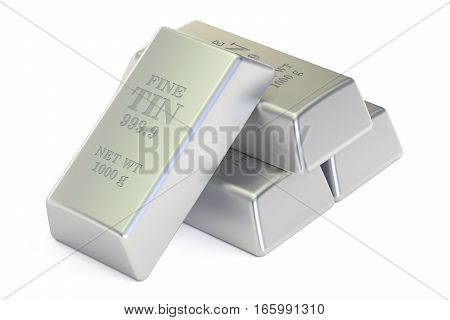 Tin ingots 3D rendering isolated on white background