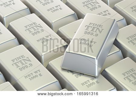 Tin ingots background 3D rendering isolated on white background