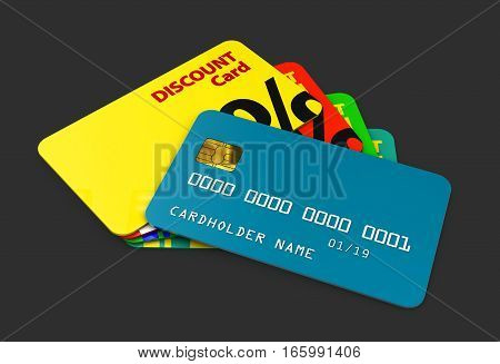 3D Illustration Of Discount Cards Template For Business Isolated Black