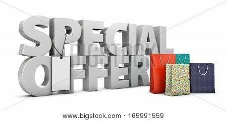 3D Illustration Of Big Text On White Background With Shopping Box.
