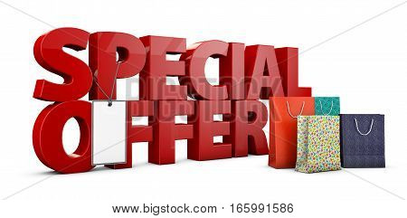 3D Illustration Of Big Red Text On White Background With Shopping Box.