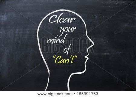 Clear your mind of Can't on blackboard with human head shape
