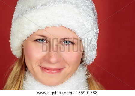 Winter Woman wearing hat and scarf isolated on white
