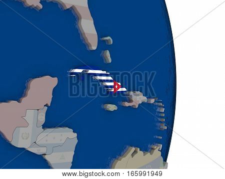 Cuba With Its Flag