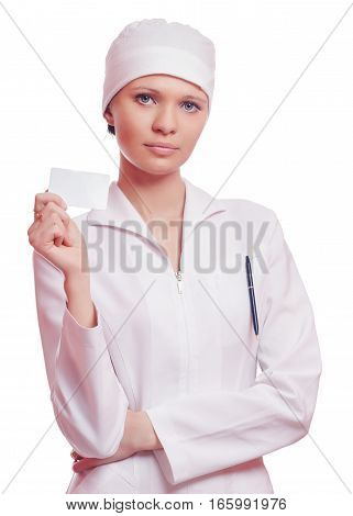 Nurse Holding Business Card