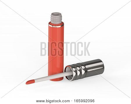 3D illustration pink red lip gloss on a white background