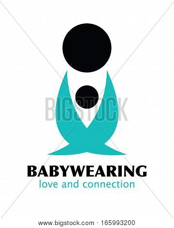 Vector Black and Blue Babywearing Symbol With Parent Carrying Baby In a Sling. Icon Style. Love, connection concept. Logo design.