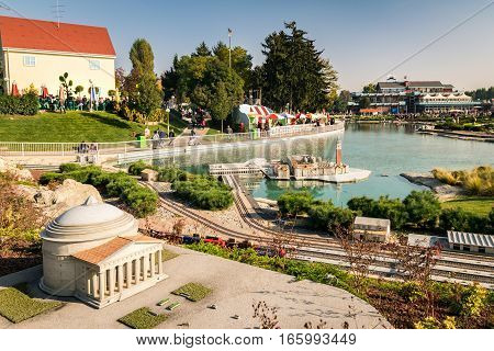 Bergamo Italy - October 30 2016: Leolandia is an amusement park famous for the miniature reproduction of Italy with 160 scale reproductions of famous monuments. Also there are rides for all ages.