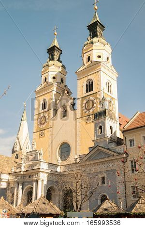 Brixen Italy - December 26 2016: Cathedral of Santa Maria Assunta and San Cassiano in Bressanone. Bressanone is a town in South Tirol in northern Italy.