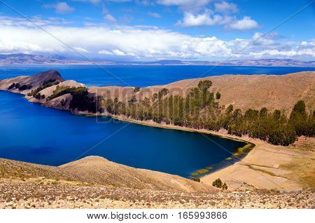 Beautiful view of the Island of the Sun on Lake Titicaca in Bolivia