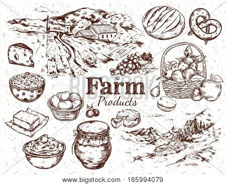 Farm products sketch set with countryside landscape fruits cheese butter eggs bread honey isolated vector illustration