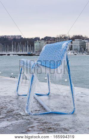 Geneva Switzerland - January 18 2017: Ice covered sculpture on the Paquis pier in Geneva Switzerland.
