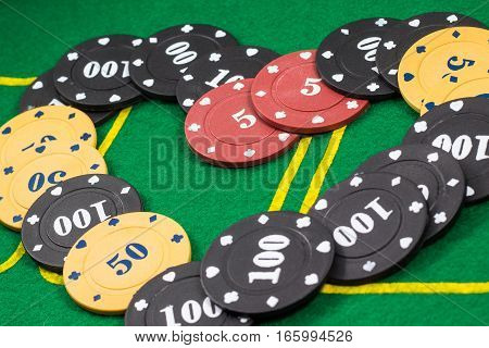 background laid out chips for poker different colors and with different face value
