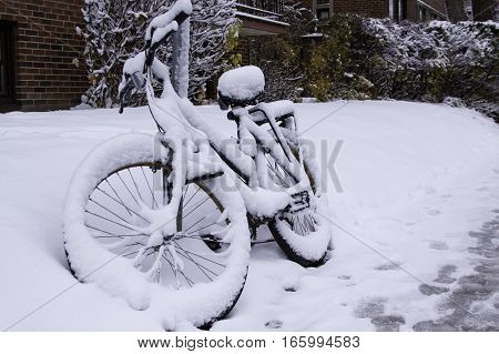 Angled front view of a bicycle covered in freshly fallen snow locked to a sign pole on a street in Montreal QC on a bright November day.