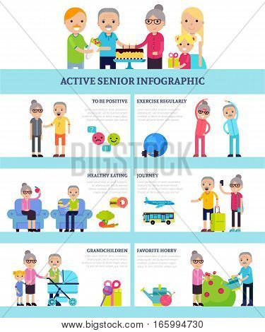 Active senior people flat infographics with healthy lifestyle hobbies proper nutrition and sport exercises vector illustration