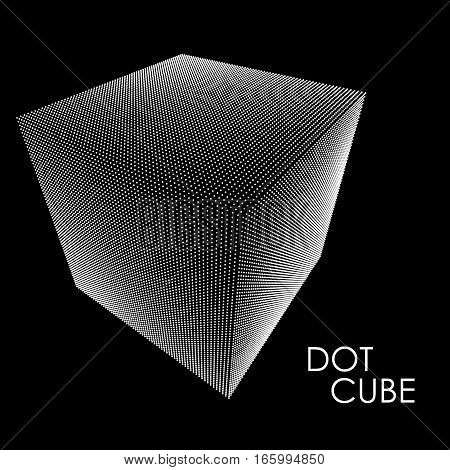 3d cube consists of whie point on black background. Abstract background. Vector illustration. Design element for technical presentation.
