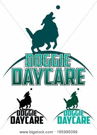 Doggie Daycare is an illustration of a design for a dog daycare. Includes a dog playing with a ball and text. Comes in back and white and more complex color designs.