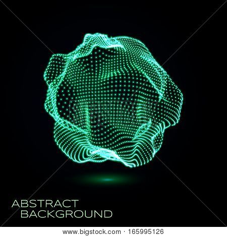 3D deformed glowing sphere consists of particles. Sphere Illustration. Technology concept. Vector illustration for science, technical design