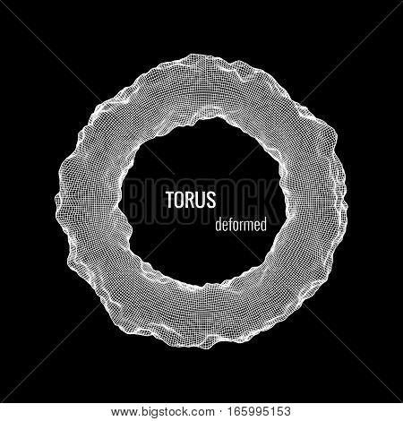 Deformed torus. Element for cyber, digital, science concept design. 3d vector Illustration
