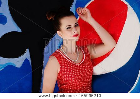 Ozerna, Ukraine - May 7, 2014: Close Up Portrait Of Young Pinup Girl Vintage Old-fashioned Dress In