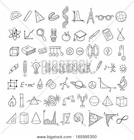Education sketch icons collection with mathematical physical elements and equipment isolated vector illustration